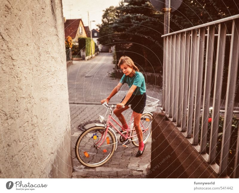 Human being Child City Girl Black Feminine Sports Pink Infancy Bicycle Smiling Fitness Retro Friendliness Cycling To hold on