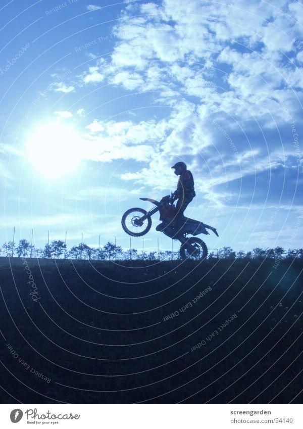 Man Clouds Sports Jump Sand Adventure Desert Motorcycle Dust Blue sky Crash Motocross bike