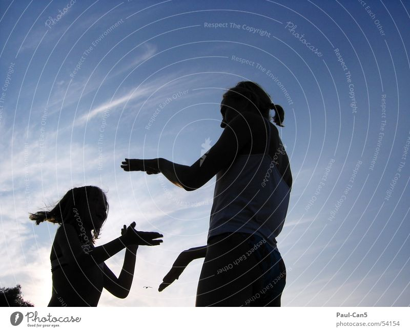 Light Shadow 2 Sunset Child Girl Woman Mother Playing Attachment Joy Love Water Sky River silouette Single parent Energy industry Power To talk