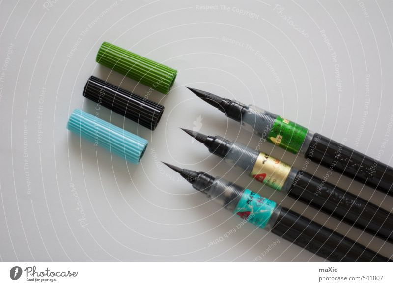 Brush Pen's Handcrafts Art Stationery Design brush pen callygraphy Calligraphy Bristles Ink Colour photo Interior shot Deserted Neutral Background