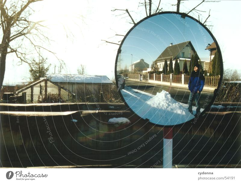 Human being Nature Sky Tree Sun Winter House (Residential Structure) Street Snow Garden Landscape Trip To go for a walk Mirror Things Impression
