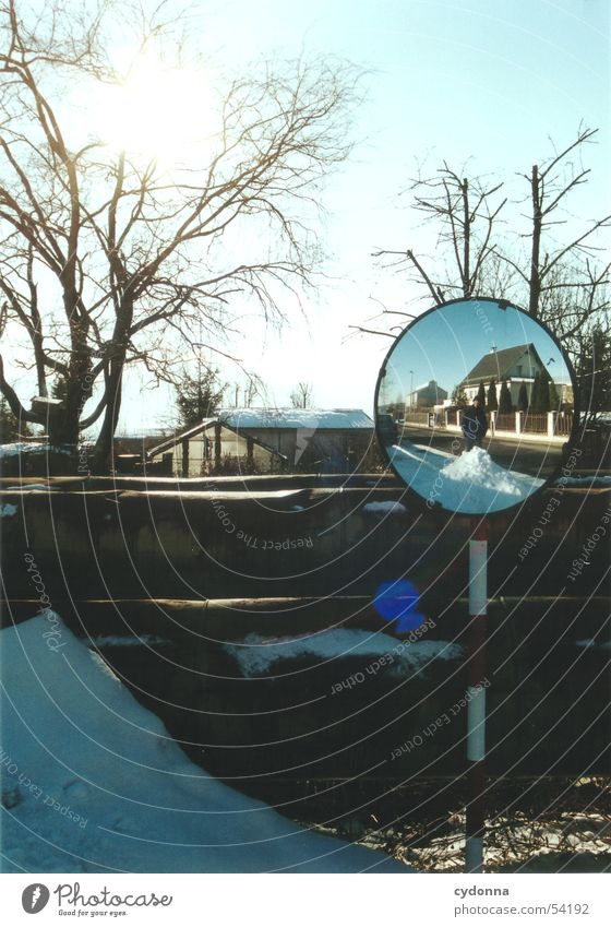 Sun mirror 2 Mirror Impression Winter House (Residential Structure) Garden settlement Tree Light Things spieglung Nature Landscape Snow Human being