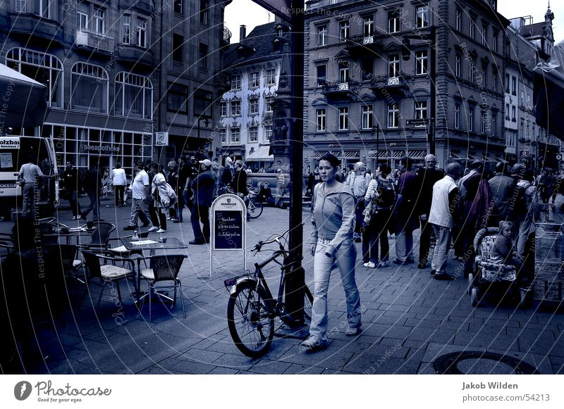 street scene Crash Haste Cold Dream Exterior shot Human being Blue Abstract Movement