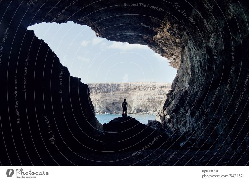 stop Vacation & Travel Adventure Far-off places Freedom Expedition Human being Life Nature Landscape Rock Mountain Bay Ocean Cave Loneliness Uniqueness