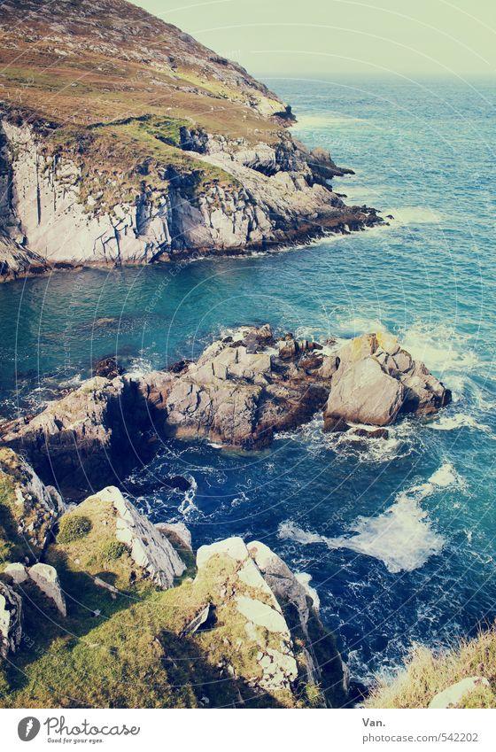 stone soup Vacation & Travel Ocean Island Nature Landscape Water Sky Beautiful weather Grass Rock Waves Coast Bay Atlantic Ocean Wild Blue Stone White crest
