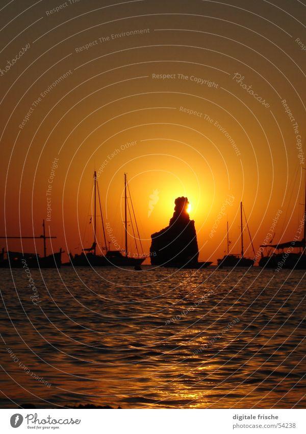 Ibiza Cala Benirras 2005 Beach Sunset Ocean Sailboat Vacation & Travel Waves Summer Joy Sky