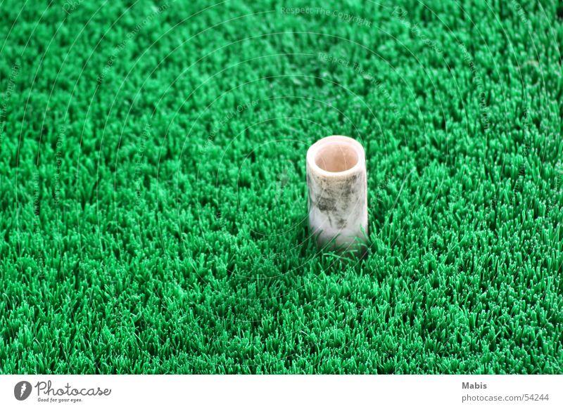 Pinöpsel on a green mat Golf course Green White Floor mat Practice Statue