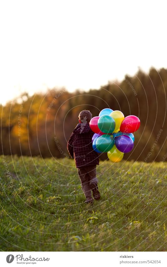 My balloons and I ii Human being Masculine Child Boy (child) Infancy Life 1 3 - 8 years 8 - 13 years Autumn Beautiful weather Meadow Field Forest Running Free