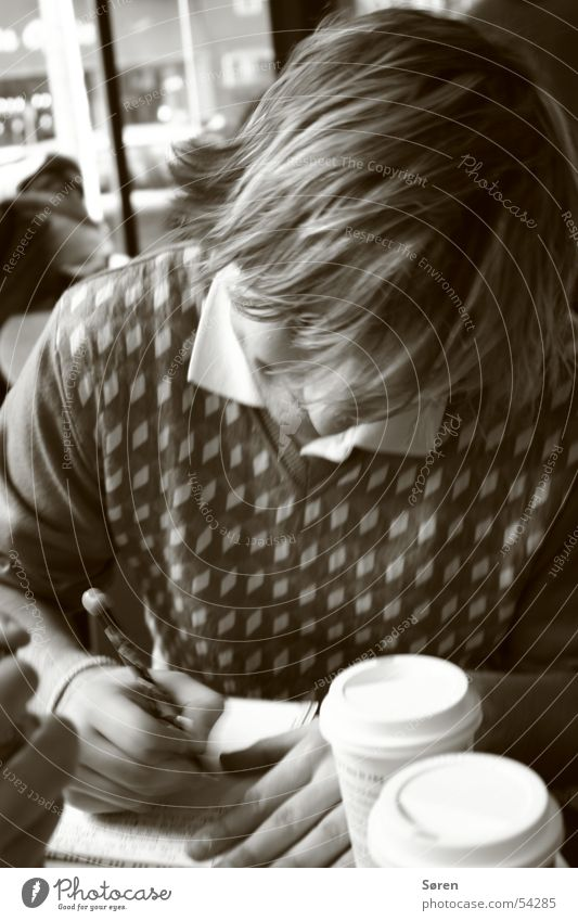 Hair and hairstyles Break Coffee Reading Write Sepia Beverage Ballpoint pen Pen Diary