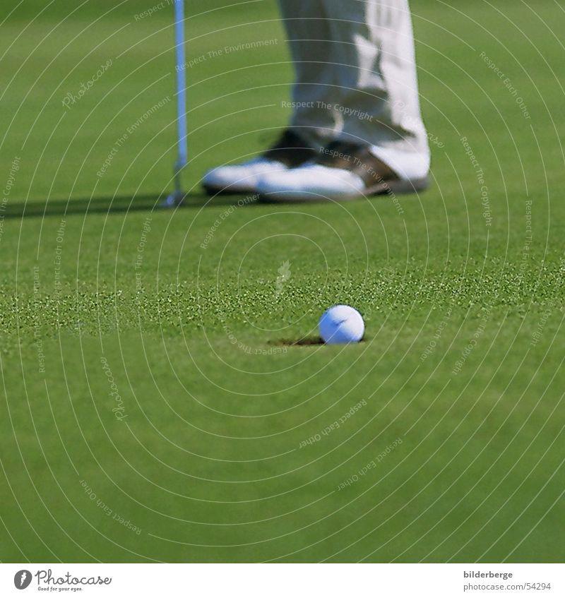 hole punching Golf Golf shoes Green Golf ball Grass surface Knoll Sports Leisure and hobbies Joy Arrest putt in putter