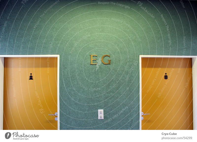 Green Calm Loneliness Yellow Wall (building) Wall (barrier) Room Orange Door Elegant Gold Toilet Seventies Frontal