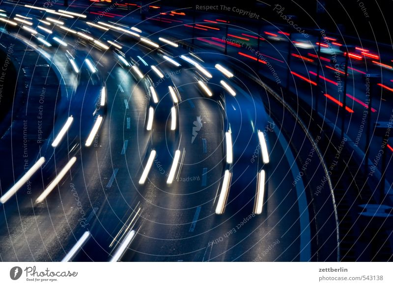 Fast Evening Highway Rush hour Arch individual transport Curve light tracks lighttracks Night City highway Town gate Skyline Traffic jam Street wallroth Line