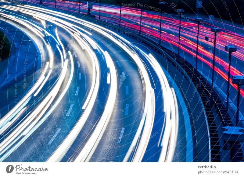 swifter Evening Highway Rush hour Arch Personalized tour Curve light tracks lighttracks Night City highway Urban building Town Traffic jam Street wallroth