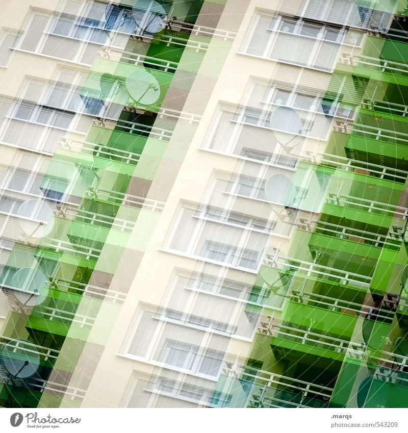 reception Flat (apartment) Town Facade Window Satellite dish Balcony Living or residing Exceptional Many Green Colour Irritation Double exposure Colour photo