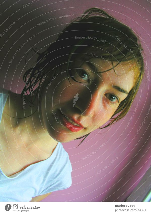 katja Young woman Youth (Young adults) Portrait photograph Face of a woman Hair and hairstyles Wet Damp Looking into the camera Strand of hair Congenial Natural