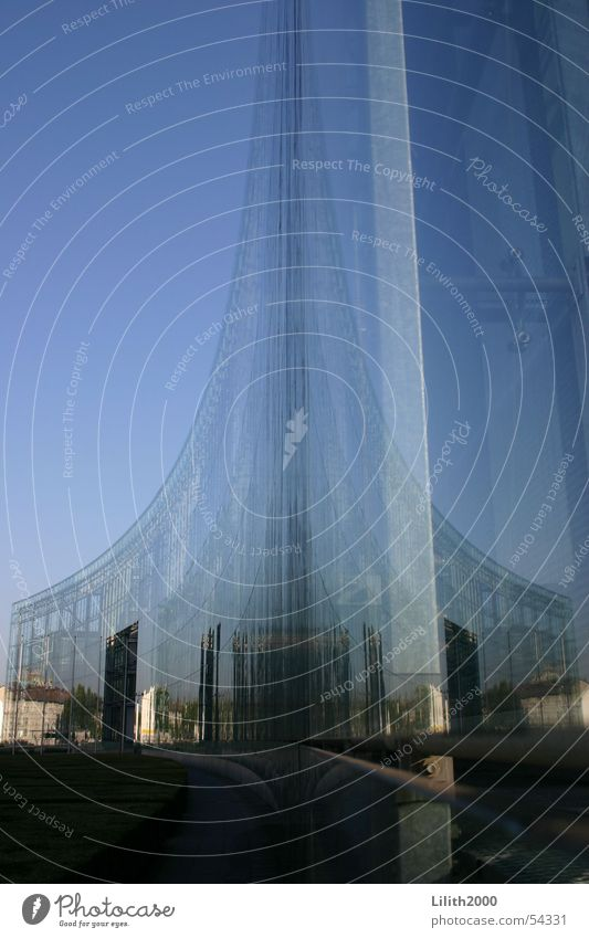 Sky Blue City House (Residential Structure) Building Glass Facade Modern Mirror Cologne Double exposure Express Publishing house