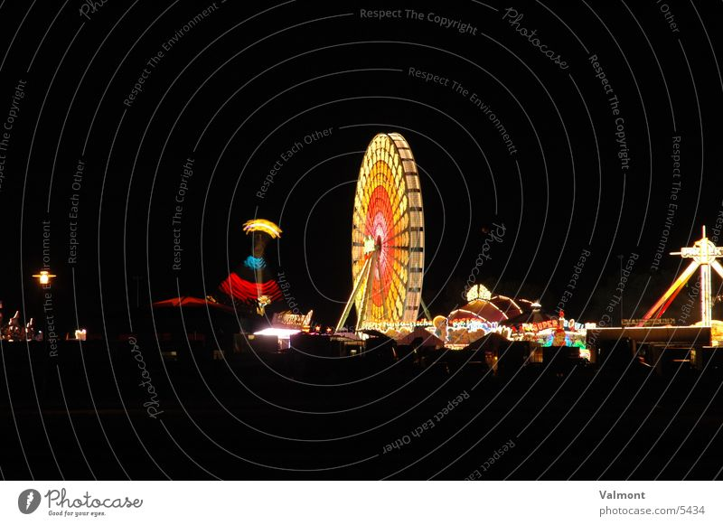 autumn fair freiburg I Night Light Freiburg im Breisgau Colour Fairs & Carnivals Carousel Visual spectacle Evening Speed Leisure and hobbies