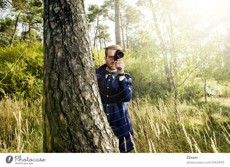Eight millimeter on the lookout! Lifestyle Elegant Style Masculine Young man Youth (Young adults) 18 - 30 years Adults Autumn Tree Bushes Meadow Forest Fashion