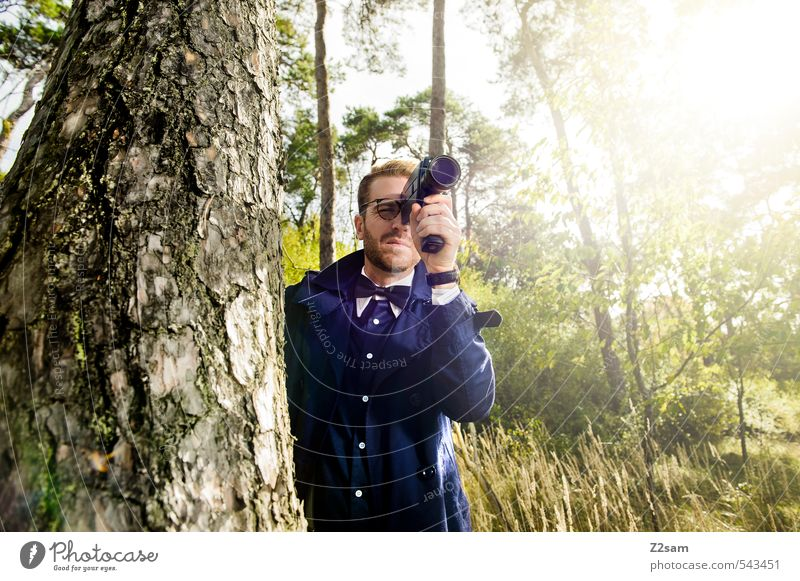 Eight millimeter on the lookout! Lifestyle Elegant Style Masculine Young man Youth (Young adults) 18 - 30 years Adults Autumn Tree Bushes Meadow Forest