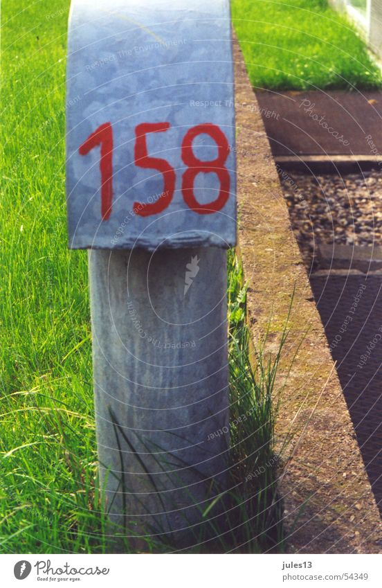 milestone Digits and numbers Red Green Grass Juicy Gaudy Hard Tin Gray Typography 158 Three-digit Exterior shot Stone hand-painted Nature