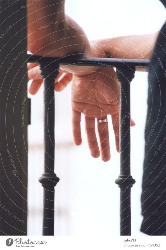 smoking break Hand 2 Black Fingers Balcony Iron Skin Circle Perspective Exterior shot Interior shot