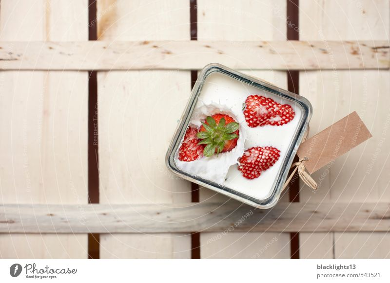 strawberry Strawberry Inject Action Movement Fruit Product Organic produce Dessert Berries Diet Sweet Cream White Glass label Collision Dynamics Refreshment