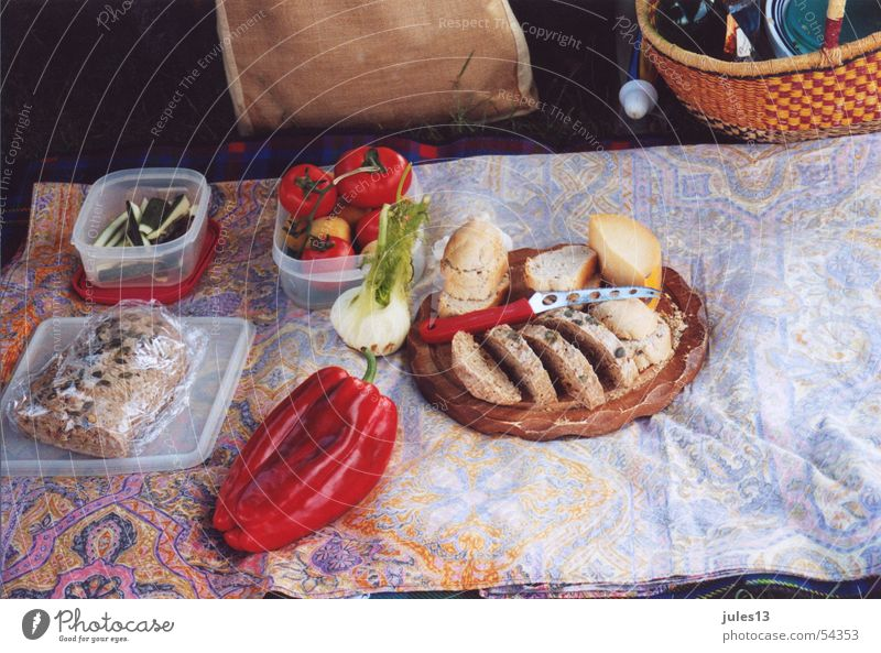 picnic Picnic Healthy Nutrition Bread Pepper Meadow Cheese Cozy Basket Summer Vacation & Travel Structures and shapes Nature Food Blanket Italy Break
