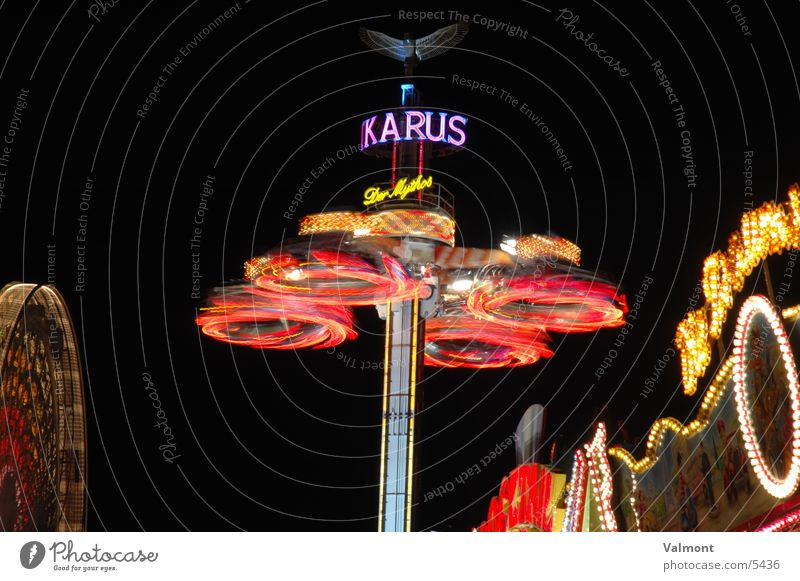 Colour Speed Leisure and hobbies Fairs & Carnivals Visual spectacle Carousel Fairy lights Freiburg im Breisgau Night