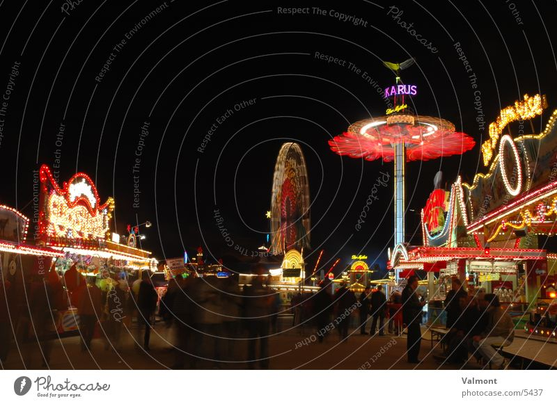 freiburger autumn fair V Night Light Long exposure Freiburg im Breisgau Colour Carousel Fairs & Carnivals Leisure and hobbies Joy Market stall