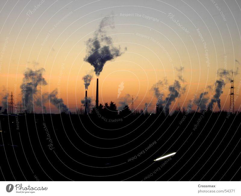 Tree Winter Clouds Dark Cold Ice Glittering Horizon Industrial Photography Kitsch Smoke Exhaust gas Chimney Steam