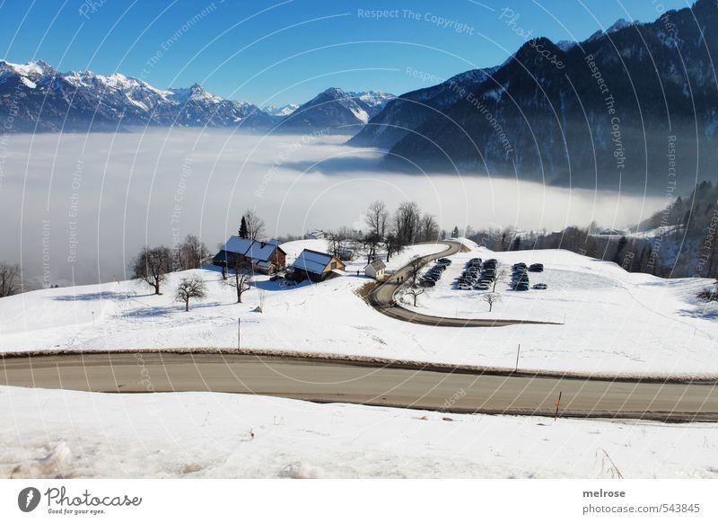 Sky Vacation & Travel Blue White Relaxation Landscape Calm Winter Cold Mountain Street Snow Brown Fog Tourism Cloudless sky