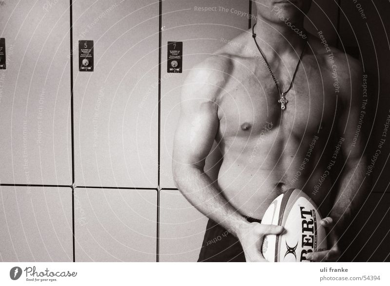 Rugby01 Rugby player Rugby ball Changing room Man Masculine Naked Driver's cab Nude photography Musculature Ball Sports Sportsperson Male nude