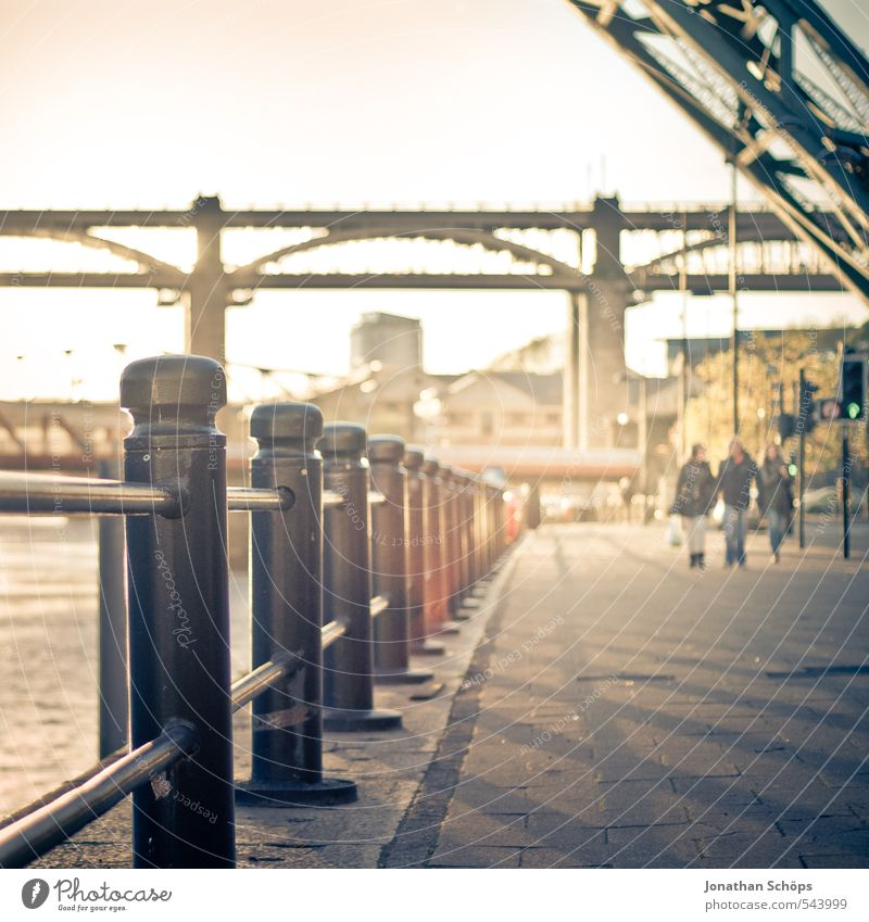 Newcastle upon Tyne IV Great Britain England Town Joie de vivre (Vitality) Esthetic Bridge Bridge construction Steel bridge River Sunlight Sunbeam Dreamily