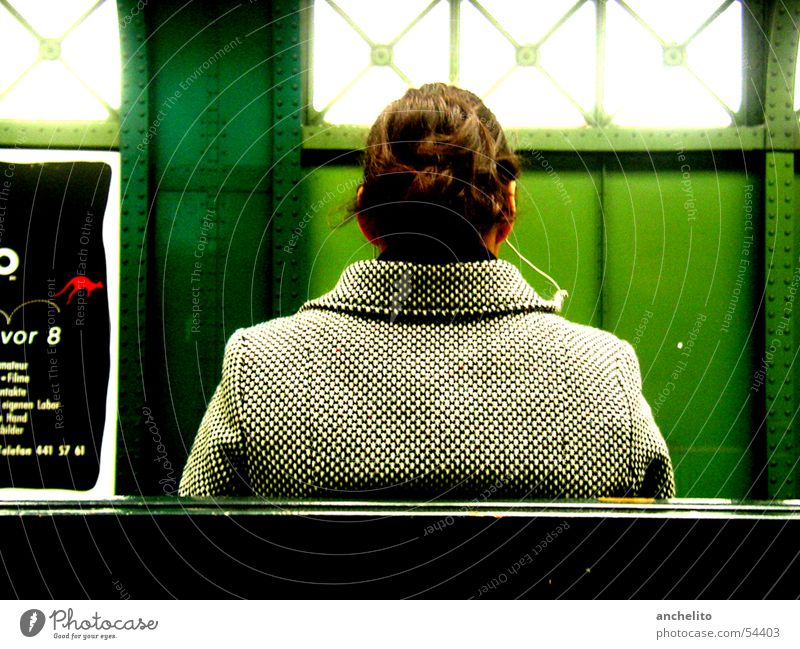 Woman Human being Green Sun Calm Relaxation Colour Window Music Sit Wait Bench Stop Listening Jacket Concert