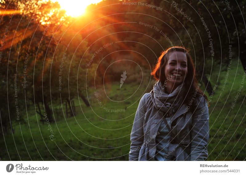 Young woman laughing in the evening sun Feminine Youth (Young adults) Woman Adults 1 Human being 18 - 30 years Environment Nature Plant Sun Sunrise Sunset