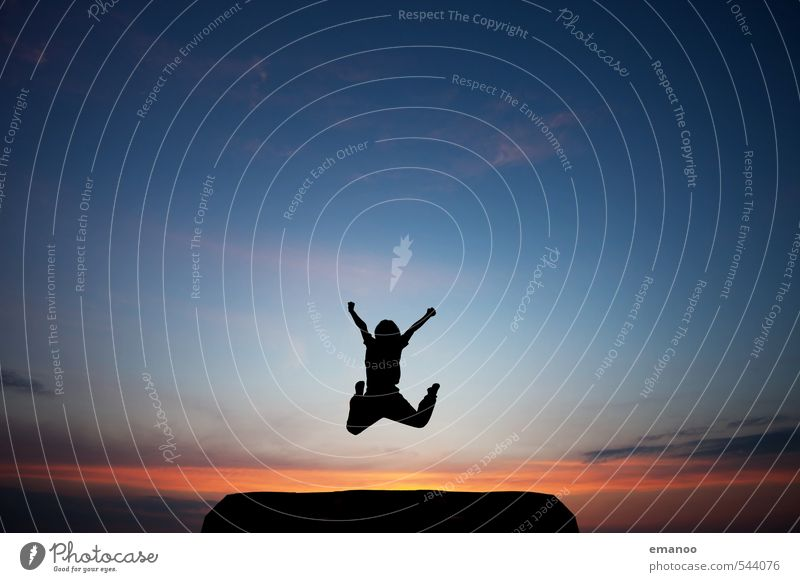 Human being Child Sky Nature Vacation & Travel Youth (Young adults) Blue Joy Black Mountain Emotions Sports Boy (child) Freedom Happy Jump