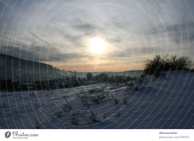 Sky Sun Winter Clouds Forest Snow Mountain Bright Lighting Horizon Bushes Hill February Thuringia