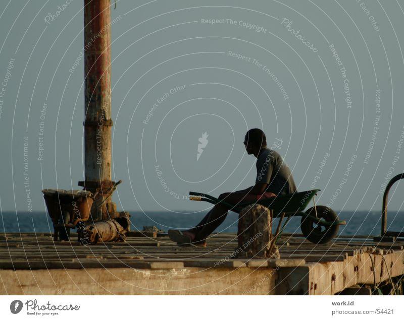 Far away Black Footbridge Cabo Verde Moody Ocean Wood Dark Twilight Sailing capo verde Evening Sky Vacation & Travel