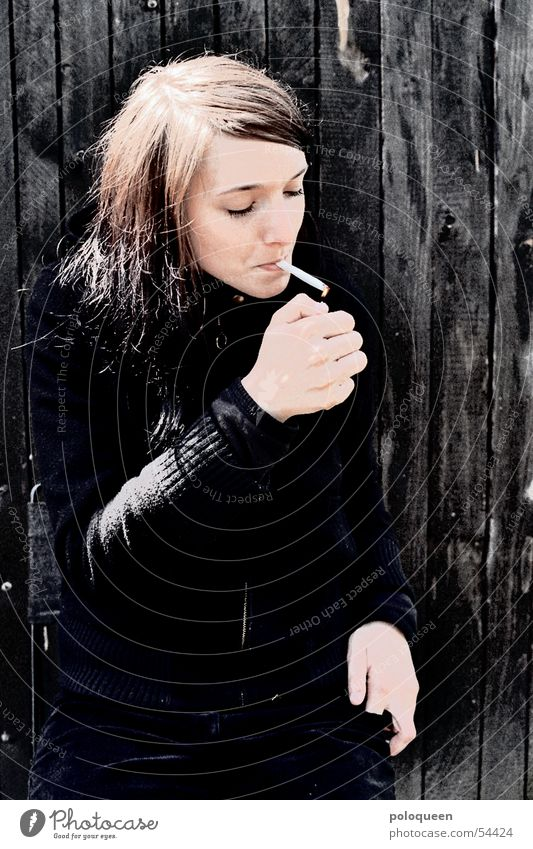 fight fire with fire Cigarette Smoke Woman Black Portrait photograph Smoking Blaze
