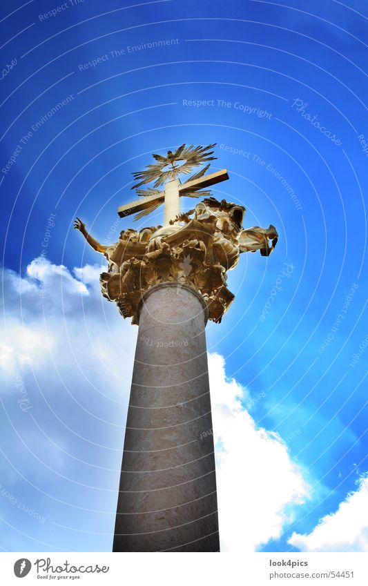 Skywards Monument Deities Holy Clouds Bavaria Straubing Statue Heavenly God cross Gold Column prophecy Blue pointing Indicate
