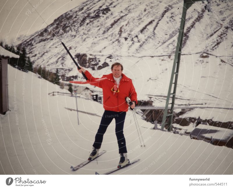 Anchor lift with red jacket Sports Winter sports Skiing Skis Ski run Masculine Man Adults 1 Human being 30 - 45 years Landscape Ice Frost Snow Alps Mountain