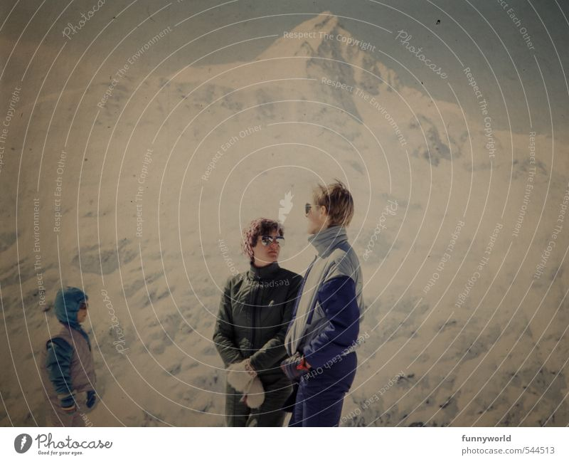 Human being Child Youth (Young adults) Young woman Winter Young man Adults Mountain Life Sports To talk Family & Relations Together Infancy Stand Clothing