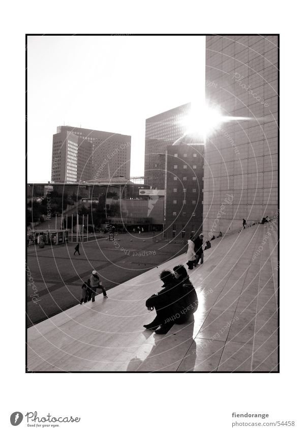 Human being Sun Calm High-rise Stairs Paris La Grande Arche