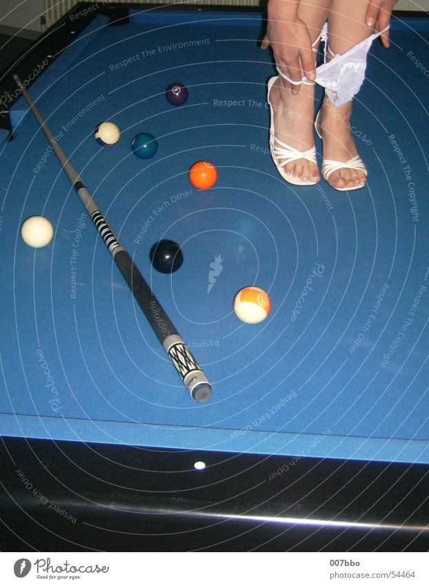 Alternative to billiards Pool (game) Eroticism Footwear Underpants Legs Sphere coo Blue Feet
