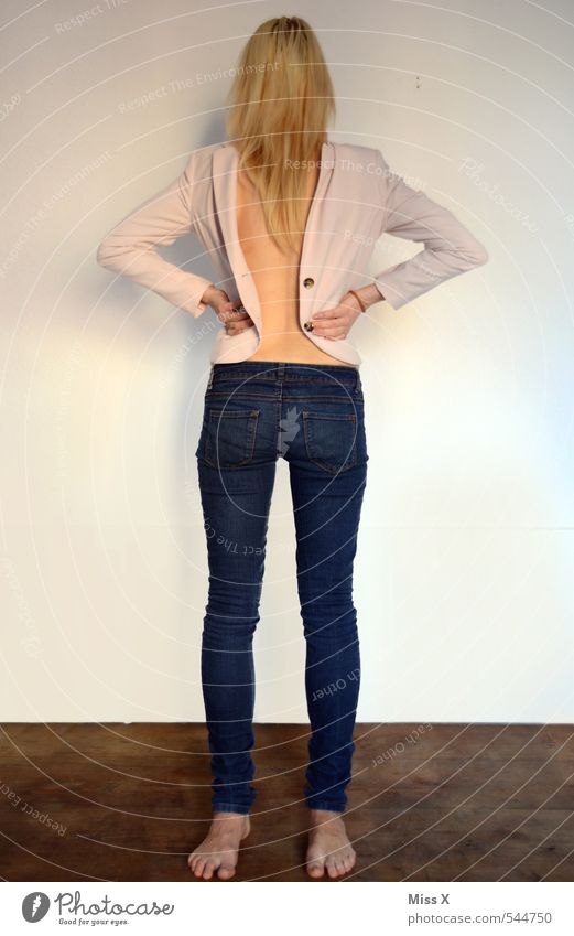 Saahllehcs Acsecnarf Body Human being Feminine Young woman Youth (Young adults) Back 1 18 - 30 years Adults Clothing Jeans Jacket Blonde Exceptional Creepy