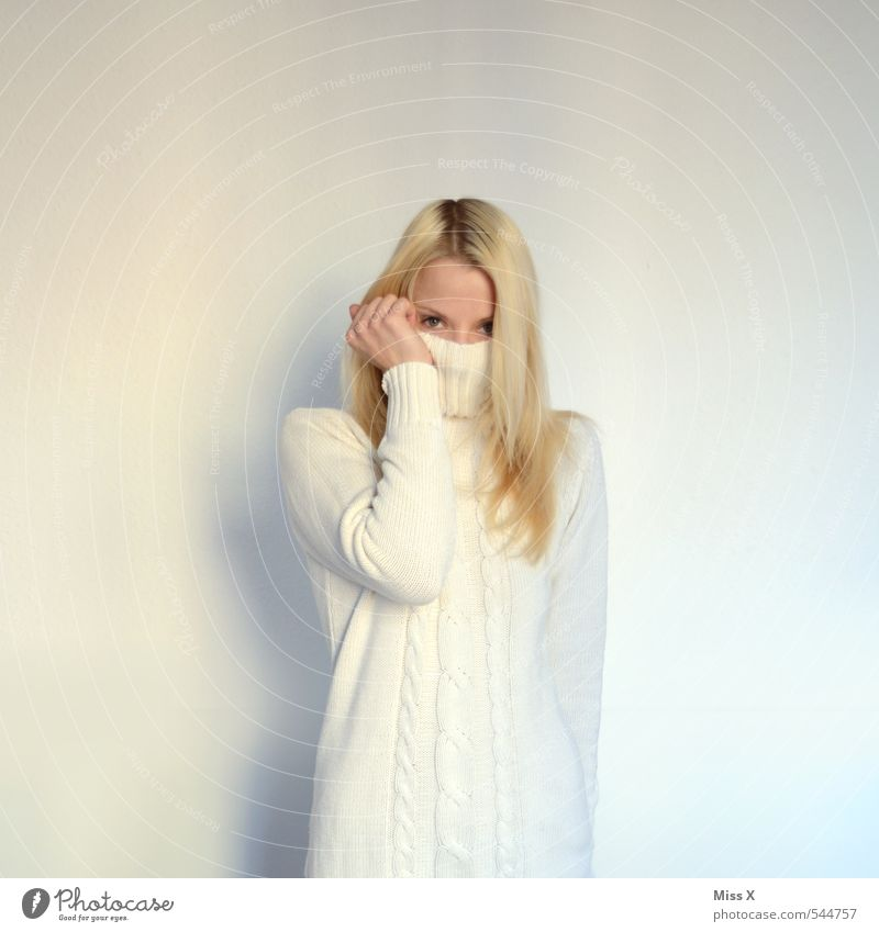 White blonde Human being Young woman Youth (Young adults) 1 18 - 30 years Adults Clothing Dress Sweater Blonde Cold Cuddly Warmth Emotions Moody Cleanliness