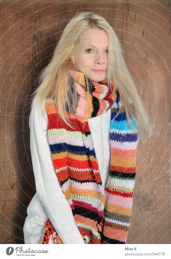 winter Style Beautiful Knit Human being Feminine Young woman Youth (Young adults) 1 18 - 30 years Adults Winter Fashion Scarf Blonde Long-haired Freeze Cold