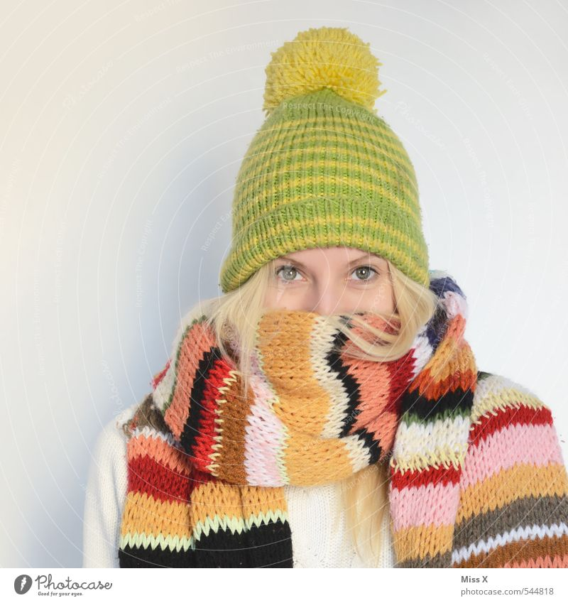 Human being Youth (Young adults) Young woman Winter 18 - 30 years Adults Cold Warmth Feminine Moody Blonde Clothing Warm-heartedness Cloth Common cold Illness