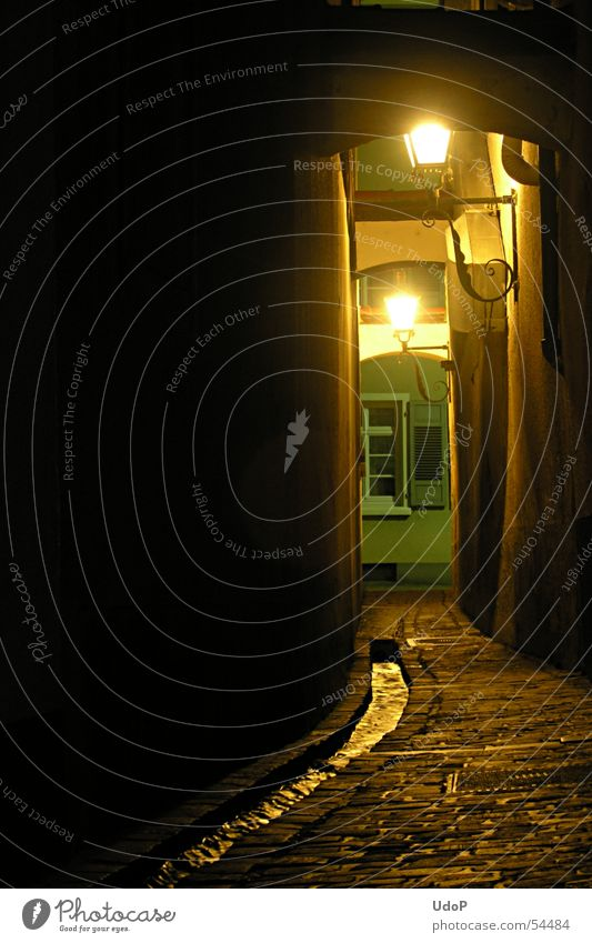 Freiburg alley Freiburg im Breisgau Alley Town Night Lantern Light Brook Body of water Pavement Homey Exterior shot Long exposure Street Germany Illuminant