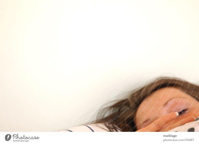 Woman Hand White Face Eyes Head Fingers Sleep Bed Point Fatigue Blanket Fingernail Nail Cushion Alert